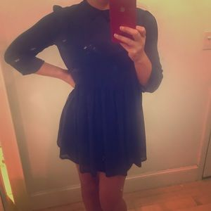Small nasty gal navy slip dress w/shear overlay